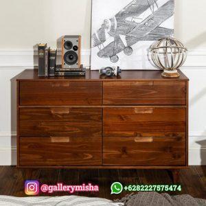 Dresser Jati 6 Laci Edison Model Minimalis Terbaru