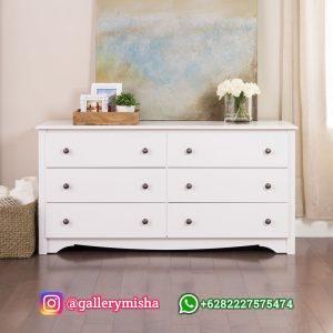 Dresser Minimalis Putih Terbaru Model 6 Laci