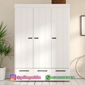 Lemari 3 Pintu Putih Model Minimalis 3 Laci Terbaru