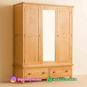 Lemari Pakaian 3 Pintu Desain Minimalis Kayu Jati