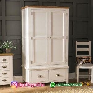 Lemari Pakaian Duco Putih Model Minimalis 2 Pintu