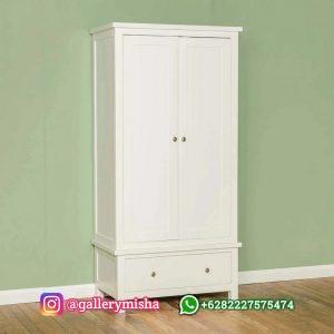 Lemari Pakaian Putih Minimalis 2 Pintu Baru