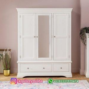 Lemari Pakaian Putih Model Minimalis 3 Pintu