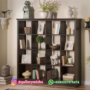 Rak Buku Kayu Jati Minimalis