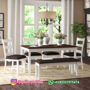 Set Meja Makan Putih Jok Bludru